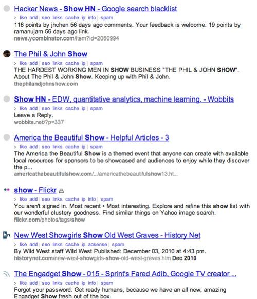 Blekko Show HN Search Results