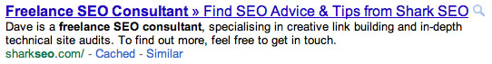 Freelance SEO Consultant Snippet