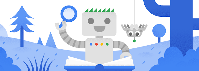 Googlebot reading a book with a new spider friend