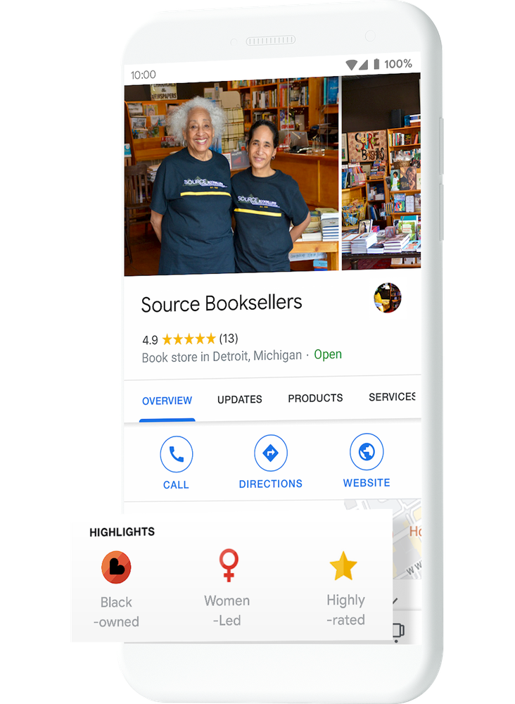 The Black-owned business attribute on a company's Maps profile