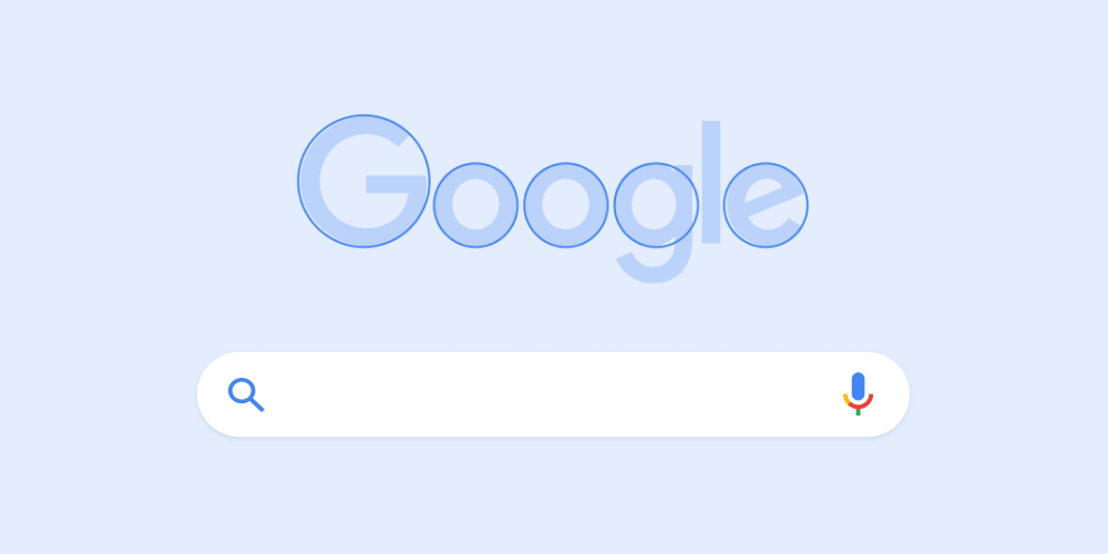 Image showing Google logo with design effects pointing to its roundness.