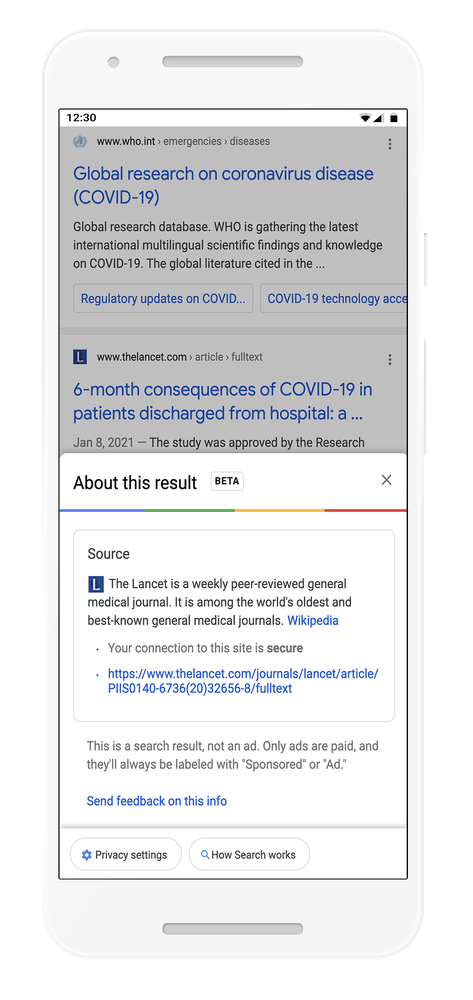 context panel on Google about The Lancet