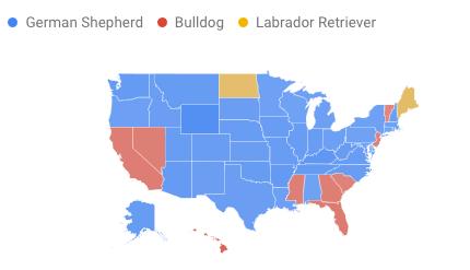 Map showing regional interest in German Shepherds, Bulldogs and Labrador Retrievers.