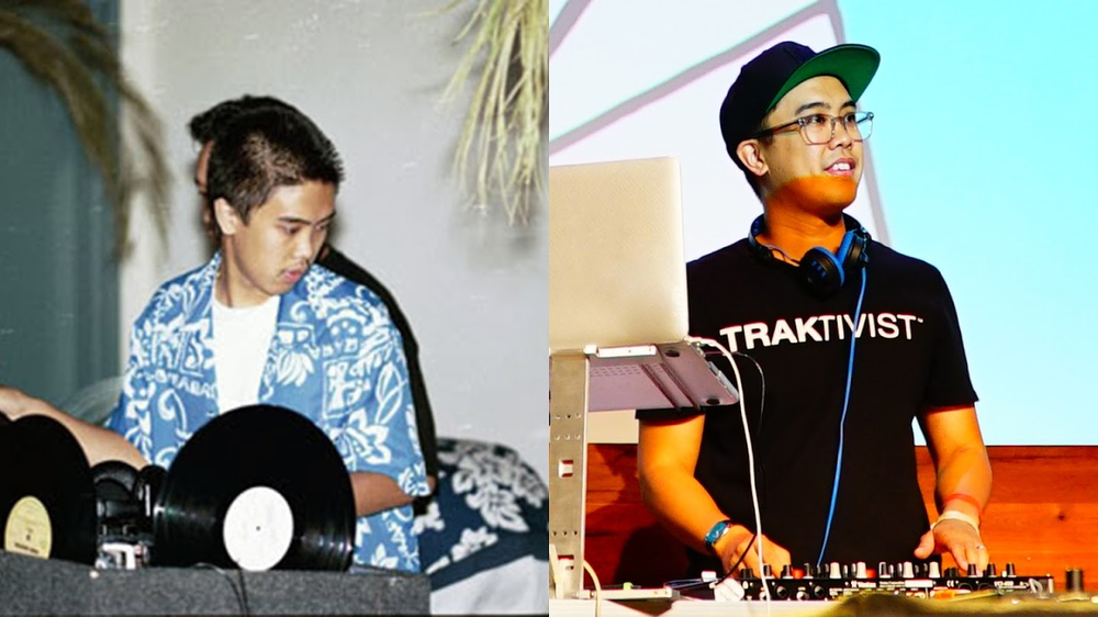 Photo shows two images side by side, one of Richie as a younger child DJing. The other shows him today, DJing.