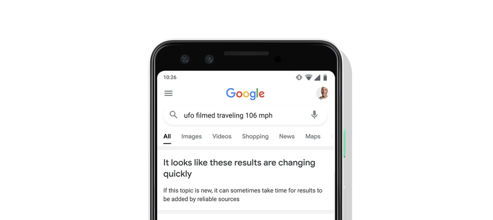 """Screenshot of Google search results for the query """"ufo filmed traveling 106 mph"""" along with a notice box that says """"It looks like these results are changing quickly. If this topic is new, it can sometimes take time for information to be added by reliable sources."""""""