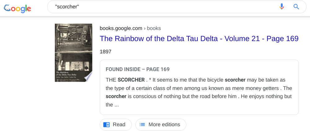 Google Books search result showing a use of the word 'scorcher' from 1897 where it describes a person writing a bike.